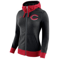 Cincinnati Reds Nike Women's MLB Logo Blended 1.4 Full Zip Hoodie - Black