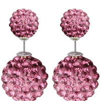 Pink Crystal Pavé Double Stud Earrings