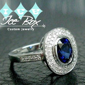 Sapphire Engagement Ring 7 x 9mm 2.59ct Oval Blue Sapphire in a 14K White Gold Diamond Halo Setting