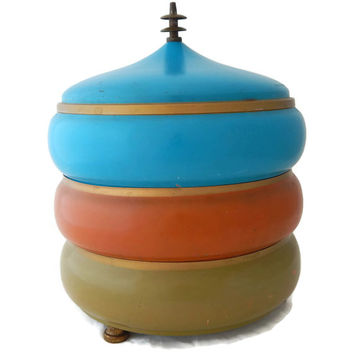 Stacking Metal Canisters Atomic Aqua Turquoise Avocado Green Orange Pagoda Finial
