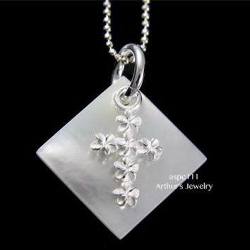 SQUARE MOTHER OF PEARL SHELL SILVER 925 HAWAIIAN MOVABLE PLUMERIA CROSS PENDANT