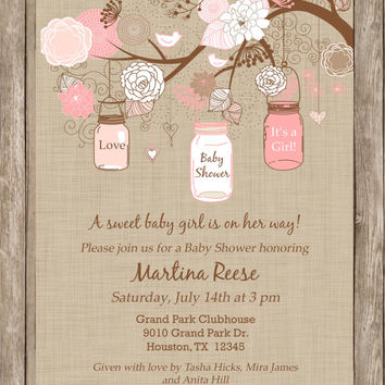 rustic girl baby shower invitation and diaper raffle setmason jar pinklinen
