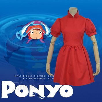 Cool Hayao Miyazaki Movie PONYO Cosplay Costume Lovely Halloween Red Dress Custom Made For Female and KidsAT_93_12