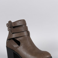 Wild Diva Lounge Studs Strappy Cutout Bootie