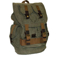 Army Green Canvas School Travel Rucksack Backpack with Many Pockets