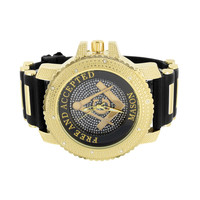 Freemason Masonic Dial Watch Gold Finish Bullet Design Black Strap