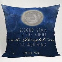 Peterpan Quotes Second Star to the Right Pillow Case (18x18 two side)