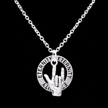 Sign Language Hand Symbol I Love You Eternity Forever Charm Necklace
