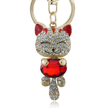 Shop Crazy Cats Lucky Smile Crystal Rhinestone Key Chains Holder