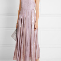 Tibi - Éclair pleated sequined silk-georgette maxi dress