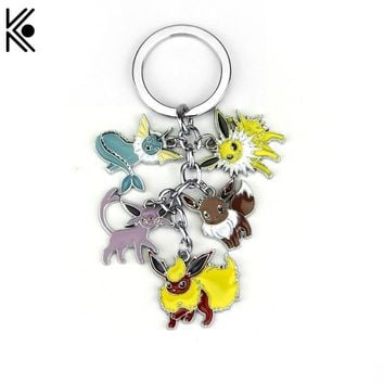 HOT! Latest Anime  keychain Pocket Monster Vaporeon Eevee Flareon Espeon Jolteon keychain keyrings Pendant Fan cute GiftKawaii Pokemon go  AT_89_9