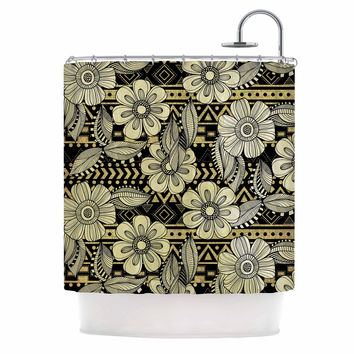 "Louise Machado ""Ink"" Black Floral Shower Curtain"