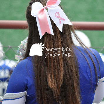 Glamorous Custom Breast Cancer Awareness Cheerleader Hair Bow