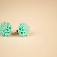 Mint Dahlia Flower Earrings