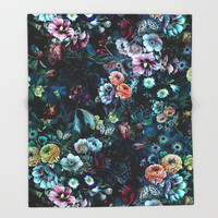 Night Garden Throw Blanket by rizapeker