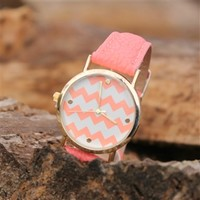 Chevron Watch - Coral