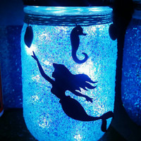 Mermaid night light, mermaid jar, mermaid light, mermaid decor, kinds room decor, beach decor, mermaid lanterns, mermaid light, glitter jar