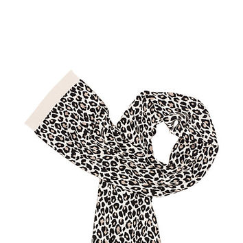Kate Spade Leopard Print Jacquard Bow Scarf Pumice ONE