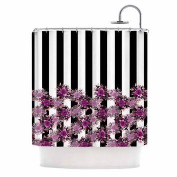 "Ebi Emporium ""STRIPES AND ROSES, FUCHSIA"" Purple,Black,Floral,Stripes,Mixed Media,Watercolor Shower Curtain"