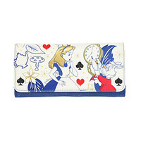 Disney Alice In Wonderland Rabbit Clock Blue Flap Wallet