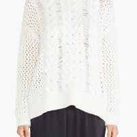 White Twisted Net Pattern Knitted Sweater