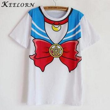 PEAPGB2 Keelorn 2016 new Hot Sailor moon harajuku t shirt women cosplay costume top kawaii fake sailor t shirts girl new Free Shipping
