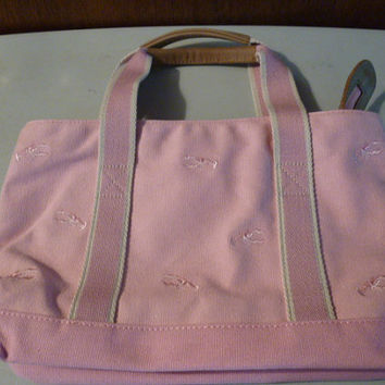 Pink LL Bean Lobster Embroidered Cotton Canvas Tote Bag Handbag Purse Preppy