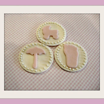 Sweet Pink Baby Fondant Cupcake Toppers set of 12 ( 1 dozen 4 of each pattern)