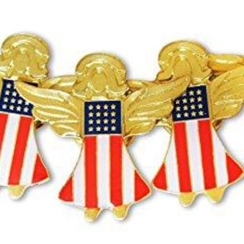 Patriotic American Flag Angels 5Piece Lapel or Hat Pin ampTie Tack Set with Clutch Back by Novel Merk