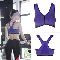 High Intensity Wirefree Sports Bras Tops Zip Shakeproof Padded Push Up Quick-dry Jogging Stretch Seamless Vest Tanks