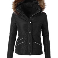 LE3NO Womens Fully Lined Padded Quilted Puffer Jacket with Hood