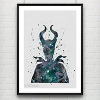 Maleficent Disney Watercolor Art Poster Print, Baby Girl Nursery Decor, Kids Room Decor, Wall Art Not Framed, Buy 2 Get 1 Free! [No. 77-1]