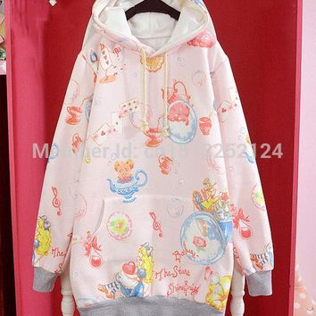 Cute Winter Womens Lolita Alice In wonderland Poker Kettle Kawaii Loose Hoodie Harajuku Long Sleeve Top Tee Fairy Kai