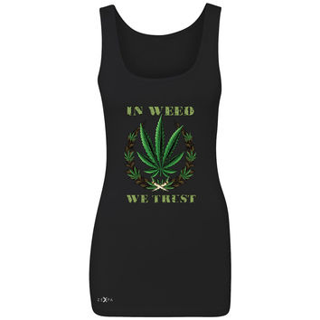 Zexpa Apparel™ In Weed We Trust Women's Tank Top Dope Cannabis Legalize It Sleeveless