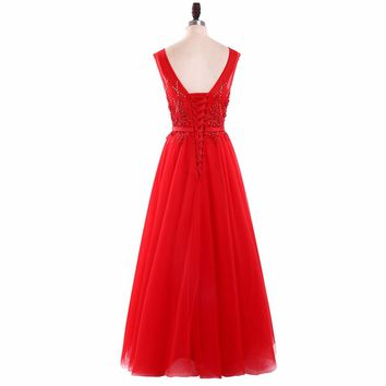 Red Tulle Sleeveless A Line Long Prom Dresses Backless Appliques Floor Length Beading Prom Dress