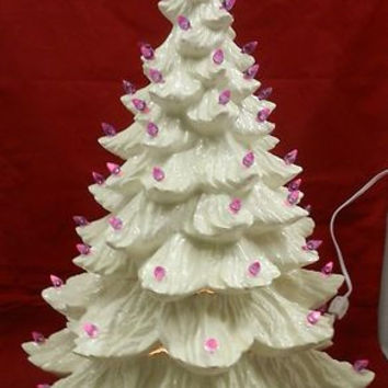 "24"" Lighted Clear White Ceramic Christmas Tree with Lights & Light Kit Painted"
