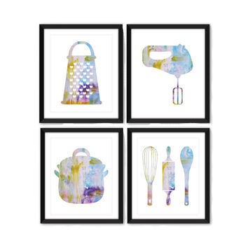 Kitchen Watercolor Art Print Set - Kitchen Art - Kitchen Decor - Modern Art - Watercolor Art - Set of 4 Prints