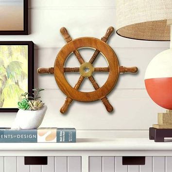 """Decorative Wooden Ship Wheel  6""""- Wood and Brass"""
