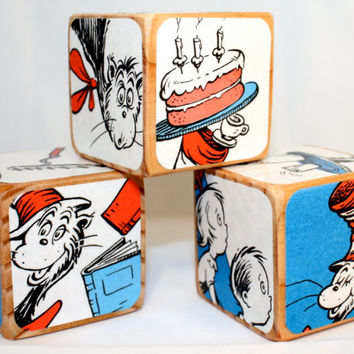 Children's Wooden Blocks - The Cat In The Hat - Dr. Seuss - Baby Shower Gift