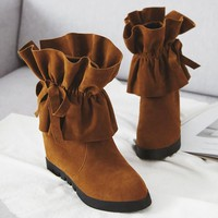 New Yellow Round Toe Flat Fashion Ankle Boots