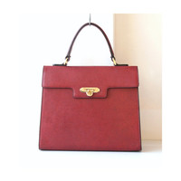 Valentino Garabani Burgandy Leather Tote Kelly Handbag very rare