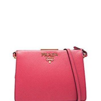 Prada women's leather cross-body messenger shoulder bag pink