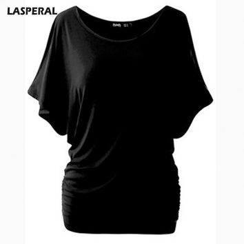 T Shirt Women Batwing Sleeve Shirts Top Solid O-Neck Cotton Blend Summer Tee Tops Female Casual Shirts
