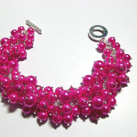 Fuchsia Hot Pink Pearl and Crystals Bracelet, Christmas Gifts, Sister Jewelry, Silver Bracelet, Mom Jewelry, Chunky Cluster Bracelet