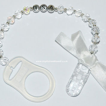 PERSONALISED MAM White Clear Crystal Dummy Clip with Silver Princess Crown Charm Romany Reborn Baby Name Ribbon Bling Soother Pacifier Saver