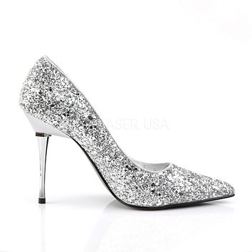 "Appeal 20G Silver Glitter Pointy Toe Pumps 4"" High Heel Shoes"