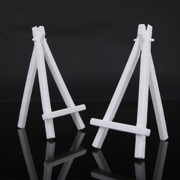 "10Pcs Mini Wooden Artist Easel White Shabby Chic Wedding Table Number Display Holder - 6.3"" x 3.54"""