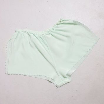 Vintage 1940s Tap Pants - Sea Foam Green Silk High Waist Shorts Lingerie - Small - Medium