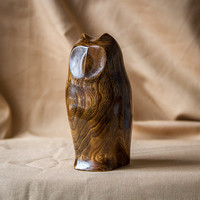 Wooden Owl Statue, Wooden Owl Figurine, Wood Carving, Hand Carved