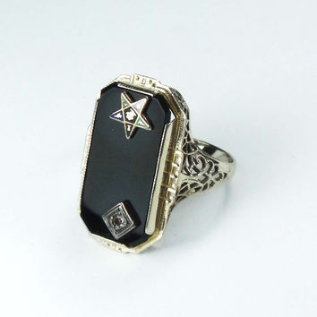 Vintage Eastern Star Ring Filigree Ring 14k White Gold Ring 1930's Onyx and Diamond Ring Masonic Ladies Ring